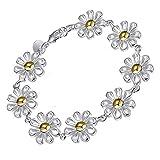 Onefeart Sterling Silber Armband für Frauen Mädchen Süss Damen Design Chrysanthemum Blumen Gestalten 20x1.9CM Silber
