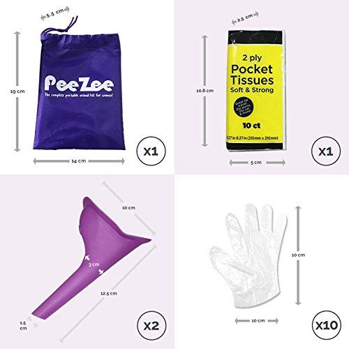 Frauen Urinal Pinkelhilfe Unterwegs Kit – mit Wasserdichten Urinbeutel, 2X Urin-Trichter, 1x Packung der Taschentücher & Hygienische Einweghandschuhe – Urinella/Pinkeln im Stehen für Frauen