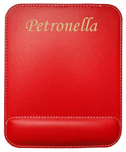 Preisvergleich Produktbild Kundenspezifischer gravierter Mauspad aus Kunstleder mit Namen Petronella (Vorname / Zuname / Spitzname)