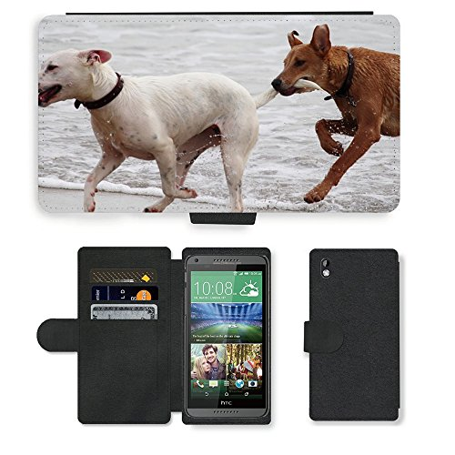 Just Phone Cases PU LEDER LEATHER FLIP CASE COVER HÜLLE ETUI TASCHE SCHALE // M00421764 Hunde Stöckchen zu spielen Beißen Romp // HTC DESIRE 816