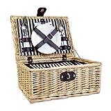Luxuriöser Weiden Picknickkorb 'Baslow' Für 2 Personen Mit Creme Farbener Picknickdecke Und Integriertem Kühlfach - Ideale Geschenkidee Zum Muttertag, Geburtstag, Ruhestand