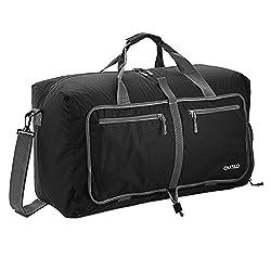 Reisetasche, OUTAD 50L Sporttasche Gymtasche Duffle Bag, Faltbar Wasserdicht Reißfest Unisex für Reise Gym Sport Schwarz