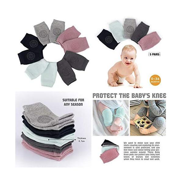 5 pares de rodilleras para bebé, multicolor, antideslizantes, ajustables y elásticas, para bebés de 0 a 24 meses 2