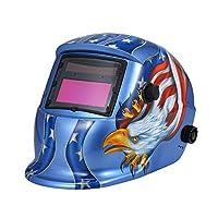 Welding Helmet, Battery & Solar Powered Auto Darkening Grinding Welding Helmet Welders Mask With Lens Adjustable (Blue)
