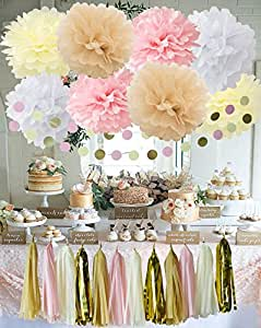 20 st ck wei creme pink tan babyparty deko party deko set. Black Bedroom Furniture Sets. Home Design Ideas