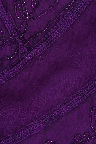 Sakkas Sundara Stein gewaschen Rayon gestickte Mid Länge Kleid Lila