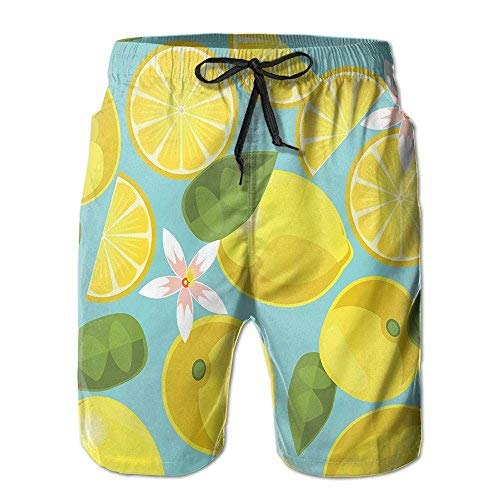 Ksale Summer Lemon Men's Summer Surf Swim Trunks Beach Shorts Pants Quick Dry with PocketsSize XL