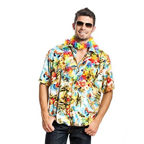 (Kostümplanet Hawaii-Hemd für Herren im Hippie und Surfer Look, Größe: 48 / 50, Hawaii-Muster: Palmen Herren Hawaii-Kostüm)