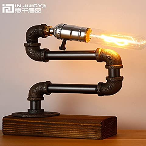 Injuicy Lighting Loft Edison Retro Industrial Wooden Base E27 Desk Accent Lamps Antique Steampunk Wrought Iron Metal Table Lamp Lights Night for Bedside Bedroom Bar