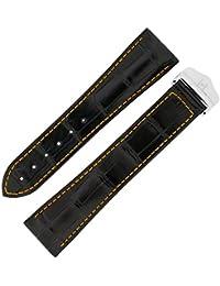Hirsch Voyager Alligator Deployment Watch Strap with Clasp in Black/Orange (20mm)