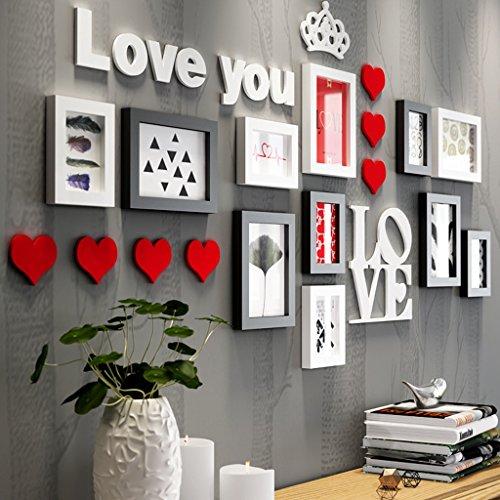 Cadres photo en bois de pin, mur de photo de fond de combinaison de cadres photo/avec des images/thème\