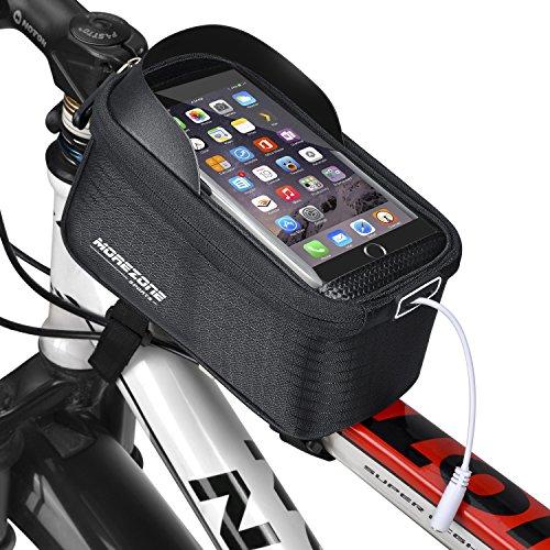 Fahrradtasche Rahmentaschen, MOREZONE Fahrrad Rahmentasche Frarradschnalletasche mit zwei Fäche, geeignet für Handy mit Größe unten 5,5