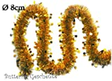 3m Weihnachtsgirlande Ø 8cm mit Sternen (gold) // Silvester Karneval Weihnachten Deko Christbaumschmuck Girllande Weihnachtsbaum Lametta 80mm