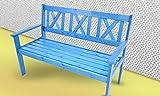 Gartenbank 129 cm Parkbank Sitzbank 3 Sitzer Kiefer Bank Holzbank blau lackiert
