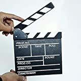 Legno 20x20x1,5 cm Regista Scena Video Ciak TV Ciak Ciak Professionale Film Slate Cut Prop (Nero) ITjasnyfall