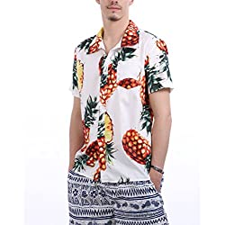 FISOUL de los Hombres Regular-Fit Camisa Hawaiana Abotonar Manga Corta Camisa Casual S - XXL