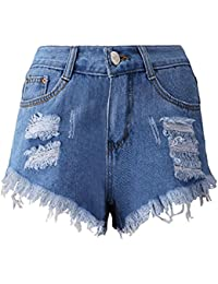14f64ec8e31ab6 Btruely Shorts Damen Sommer Jeans High Waist Shorts Damen Quaste Loch Kurze  Hose Skinny Jeans Sommer…