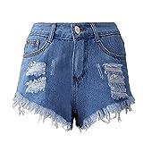 Btruely-Shorts Damen Sommer Jeans High Waist Shorts Damen Quaste Loch Kurze Hose Skinny Jeans Sommer Hosen (Asia Größe S, Blau)