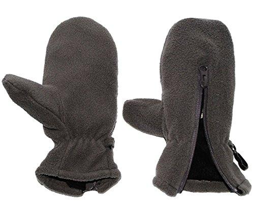 alles-meine.de GmbH sehr weiche _ Fleece Fausthandschuhe – mit Reißverschluß – Größe: 1 bis 2 Jahre –  dunkel grau  – LEICHT anzuziehen ! mit Daumen – Kinder & Babyhandschuhe /.. | 04050677979761