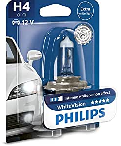 H4 PHILIPS WHITE VISION INTENSE WHITE UPGRADE WHITEVISION H4 BULBS WITH FREE W5W