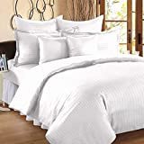 BS EXPORTS Luxury Premium 210 TC Cotton King Size Double Bed Sheet (8.3 Ft X 9 Ft) With 2 Pillow Covers, White