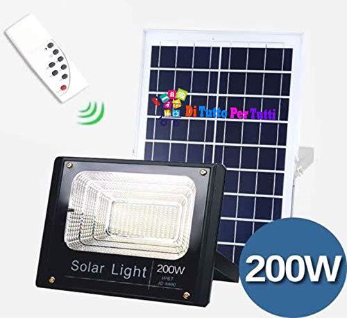 Faro LED 200 W para exterior con panel solar a juego con soporte y mando a distancia y cable, con sensor crepuscular integrado para el encendido automático al calar la luz y panel solar. Gracias al panel solar, la batería acumulará la carga durante e...
