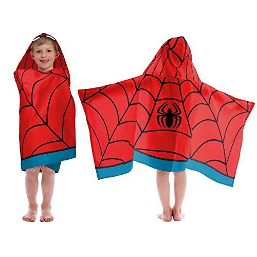 Générique MISC Kids Serviette de Bain à Capuche Motif Spiderman Rouge/Noir Motif Avengers Bleu Serviettes pour Enfant Spider Man Super-héros BD Linen Salle de Bain 1 pièce Coton