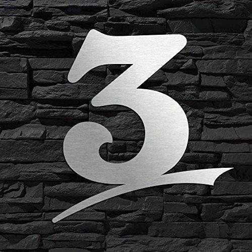 Numéro de maison en acier inoxydable 3Curve Edition–16cm 20cm 30cm 40cm 50cm–Design Original alezzio–Résistant aux intempéries V2A–Plaque de Porte–Montage facile–Résistant à...