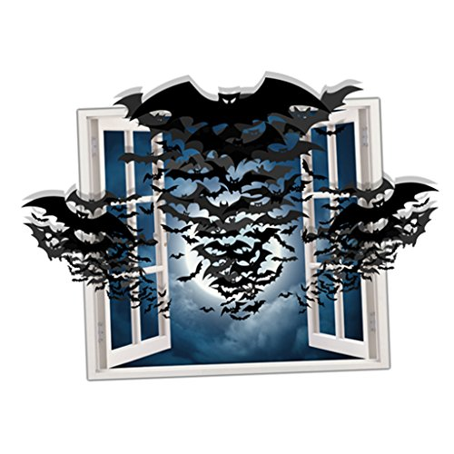 Gazechimp 3D Geister Kürbis Wandsticker Wanddeko Wand Aufkleber - Halloween Serie - Schwarz Spirituosen Fledermaus, 79.3x58cm (Spirituosen Halloween)