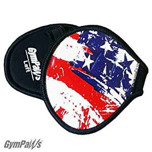 USA Flag Leather Hand Pads for Gym with 4 Finger Loop Military-Grade Neoprene Backing