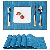 Myir Tovagliette Americane Lavabili Plastica, Tovagliette Non-scivolose Resistenti al calore, Set da 6 Tovagliette per Tavolo da Cucina (Blu)