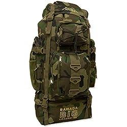 Andes - Sac à dos Ramada - pour voyage/randonnée/camping - XL - 120 L - Camouflage