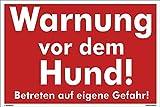 Kleberio® Warnschild 30 x 20 cm - Warnung vor dem Hund! Betreten auf eigene Gefahr - stabile Aluminiumverbundplatte