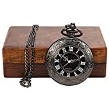 Kartqiue Stylish Gandhi Pocket Watches for Girls Ladies Women Kids | Boys Mens | Watch Wooden Box Combo | Long Chain Pendant | Party Wear | Roman Numerals Scale Black Quartz Glossy Black Dial