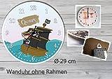 Kinder Wanduhr Kinderuhr Kinderzimmer Uhr mit Namen personalisiert laufruhig leise Pirat (29 cm)