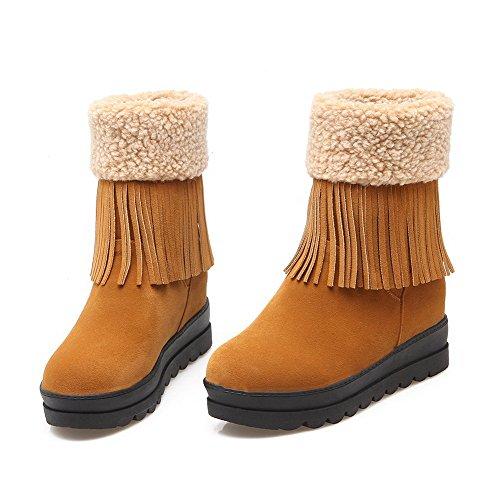AgooLar Damen Mittler Absatz Rein Rund Zehe Ziehen auf Stiefel, Gelb, 37