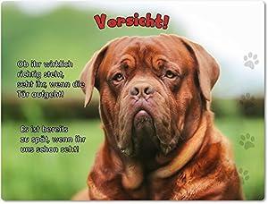 Merchandise for Fans Blechschild/Warnschild / Türschild - Aluminium - 15x20cm - mit Spruch - Motiv: Bordeaux Dogge - 03
