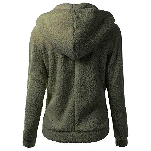QQI Femme Veste Polaire Zippé Sweat-shirt à Capuche Manteau Hoodie Chaud Automne Hiver VERT FONCÉ