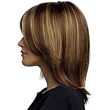 Babysbreath Moda de las mujeres cortas de color marrón pelucas de pelo recto natural cosplay peluca