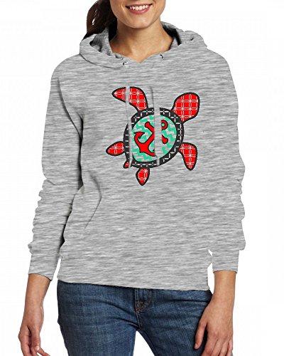 Turtle and Anchor Womens Hoodie Fleece Custom Sweartshirts Grey