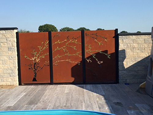 Design Gartenzaun Sichtschutz 3 – teiliger Baum bestehend aus 3 Rostelemente und 2 Pfosten SW017