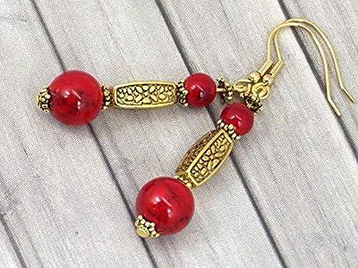 Boucles d'oreille Thurcolas en Turquoise rouge de la gamme Medicis plaqué or