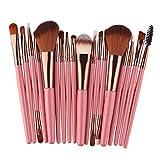 SO-buts 18 Pcs Makeup Brush Set Tools Make-up Toiletry Kit Wool Make Up Brush Set (Pink)