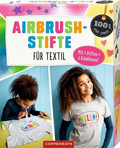 Airbrush-Stifte für Textil: MIT 5 STIFTEN + 6 SCHABLONEN