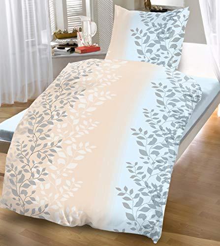 4-Teilige Bettwäsche Garnitur Bettbezug 135x200 Kissenbezug 80x80 Blätter Ranke Creme Sand Hell Blau
