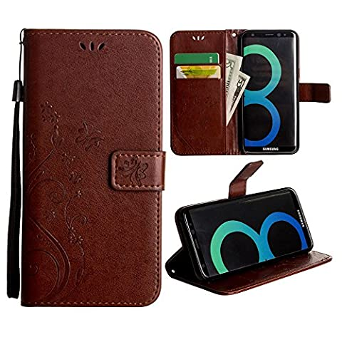 CellularOutfitter Samsung Galaxy S8 Folding Wallet Case - Embossed Butterfly Design w/ Matching Detachable Case and Wristlet - Coffee Brown