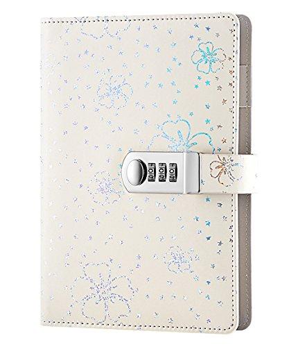 NectaRoy PU Leder Zahlenschloss Tagebuch Schreiben Notebook Planer Organizer, Blumen und Sterne Muster Passwort Tagebuch Notizblock mit Stift halter, A5 Größe 210x145mm