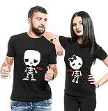 Couple T-Shirt Pärchen Set T-Shirt Paar Tshirt Für Zwei T-Shirt Für Paar (Schwarz, Men-M+Women-S)