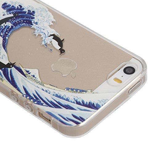 iphone 5s Transparent Housse,Silicone TPU Gel Etui pour iphone SE,Ekakashop Jolie Design Ultra Mince Soft Souple Arrière Cristal Clair Gel TPU Bumper Case Coque de Protection Couverture Swag pour ipho Planche de surf