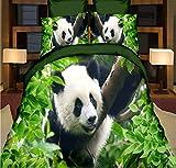 CHABED Set Biancheria da Letto in 4 Pezzi Immagine Effetto 3D di Panda Gigante E Set Lenzuola E Copripiumino in bambù Resistente 200X230 Cm